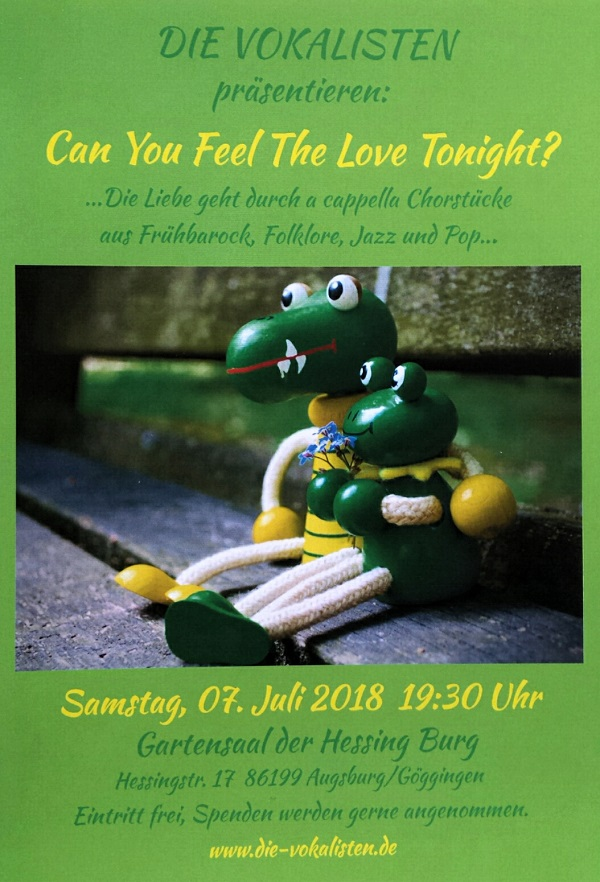 Flyer Die Vokalisten Can You Feel The Love Tonight 2018